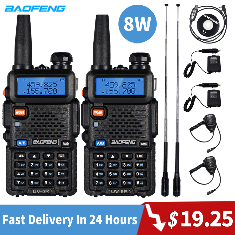 2pcs Baofeng UV-5R Walkie Talkie 8W High Power Walkie Portable Ham CB Radio Uv 5r Dual Band FM Transceiver Uv5r Two Way Radio