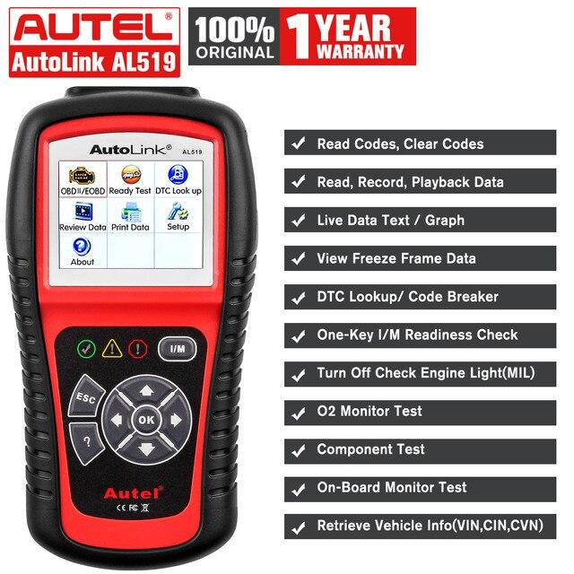 Autel otomatik bağlantı AL519 OBD2 tarayıcı araç teşhis aracı OBDII otomatik tarayıcı kod okuyucu tarayıcı daha iyi elm 327 v1.5