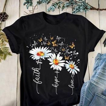 Women T Shirt 2020 Summer Short Sleeve Casual O-neck Daisy Flowers Print Tops Loose Office School T-shirts Tunic Tees Plus Size цена 2017