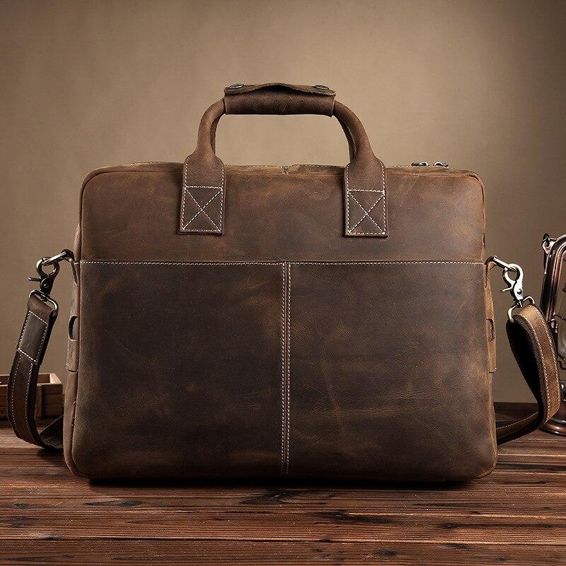 """Prawdziwej skóry mężczyzna teczki 16 """"duża pojemność torba na laptopa rocznika szalony koń skórzane pracy torebka na ramię torba na ramię w Teczki od Bagaże i torby na  Grupa 3"""