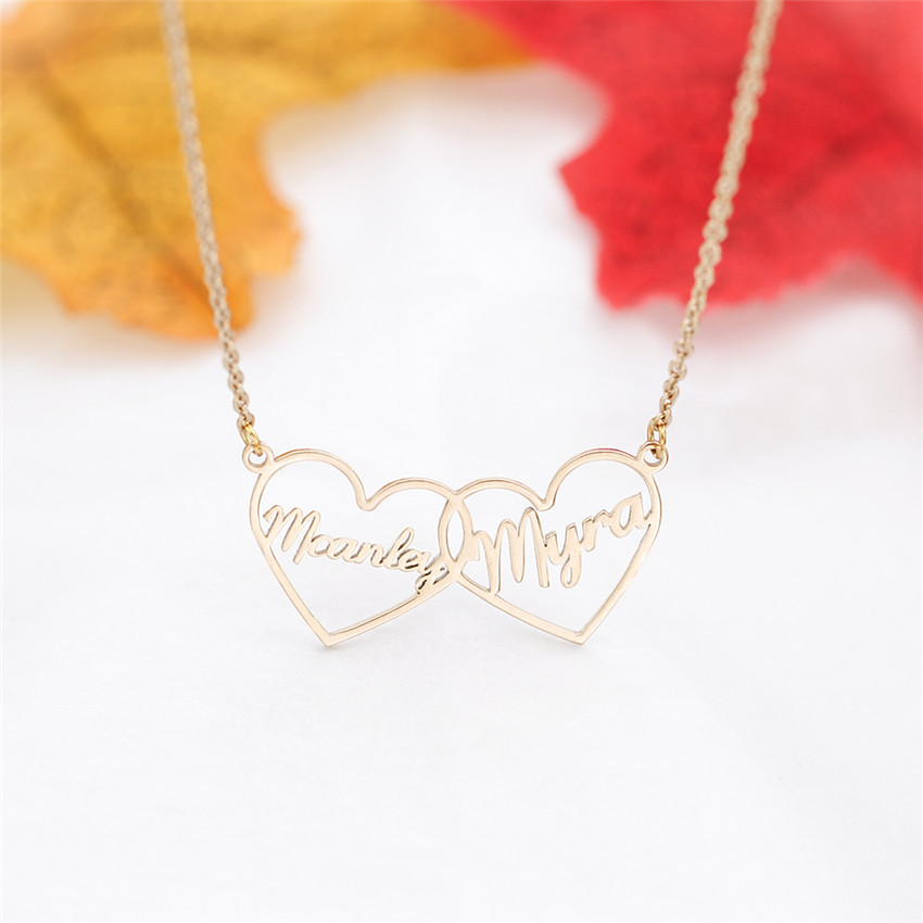 Personalized Custom Heart Name Necklaces For Women Two Nameplated Letter Necklace Pandent Men Gold Chain Choker Best Kolye BFF in Pendant Necklaces from Jewelry Accessories
