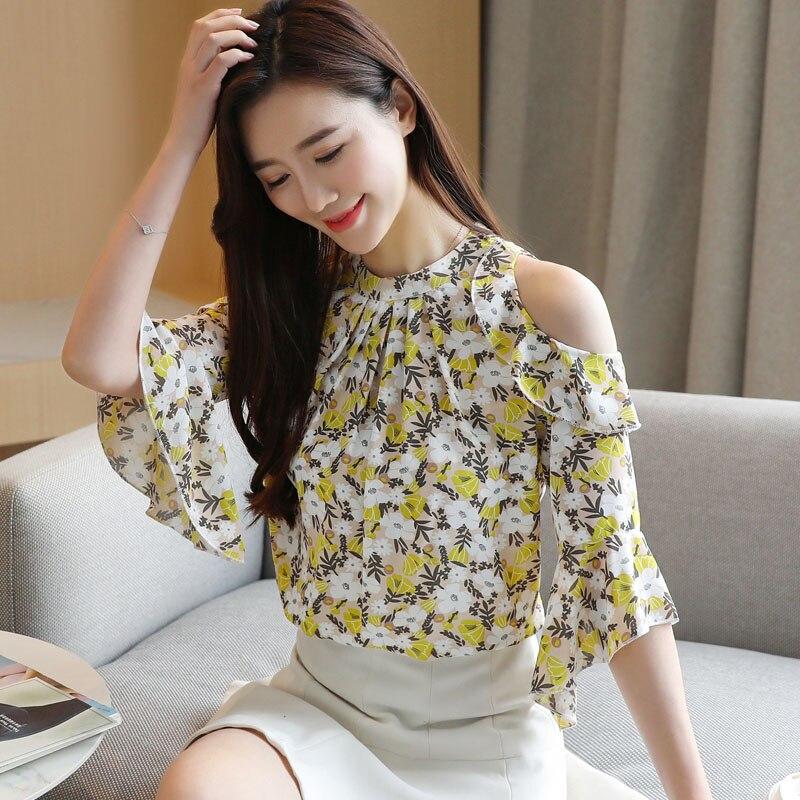 Korean Chiffon Blouses Women Print Shirt Tops Plus Size Ruffles Tops Woman Flare Sleeve Floral Blouse Blusas Mujer De Moda 2020