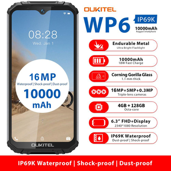 OUKITEL WP6 Smartphone 6.3'' FHD 4GB 128GB Octa Core IP68 Waterproof Mobile Phone 16MP Triple Cameras Rugged 10000mAh Battery