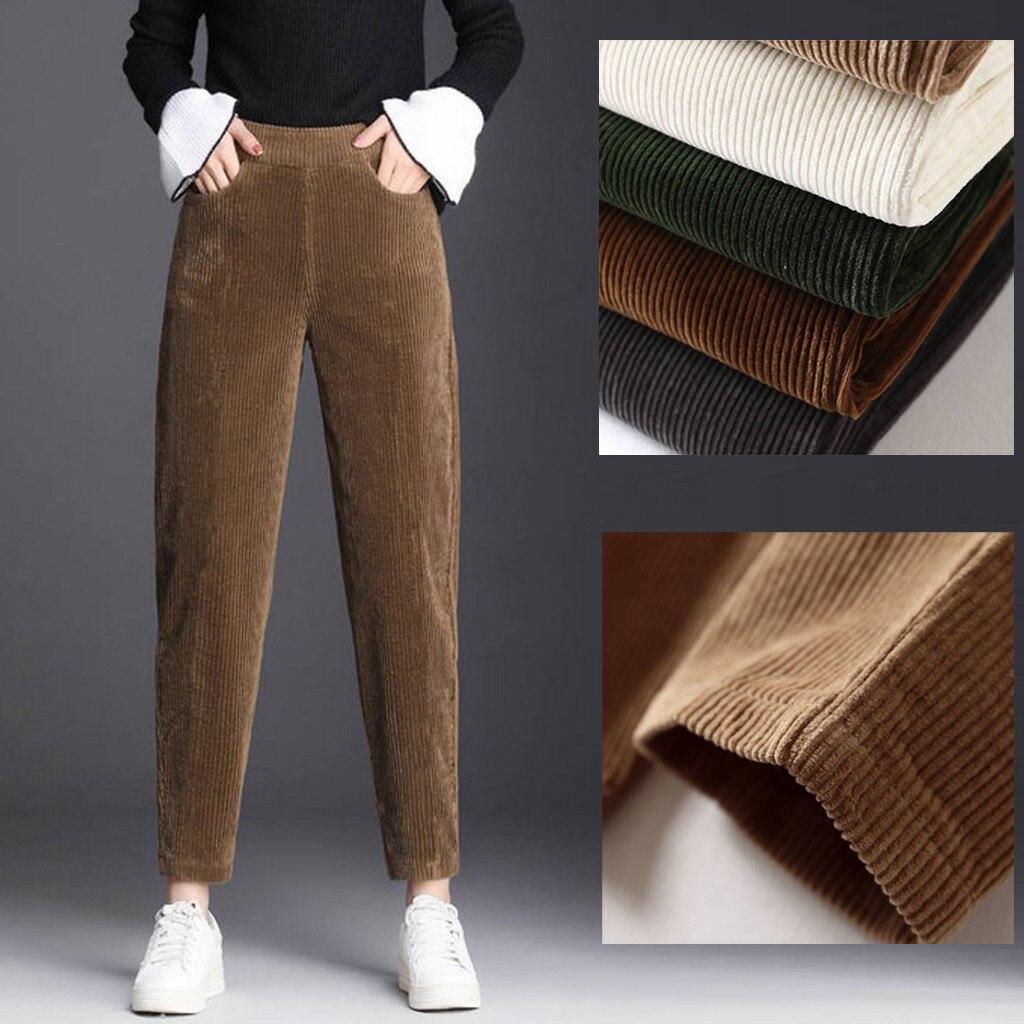 Corduroy Trousers Thin Casual  Harem Pants For Women 2020 New Spring Fashion Lady Elastic Waist Solid Long Pants Spodnie Damskie
