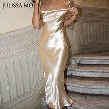 JULISSA MO Sexy Spaghetti Strap Backless Summer Dress Women Satin Lace Up Trumpe