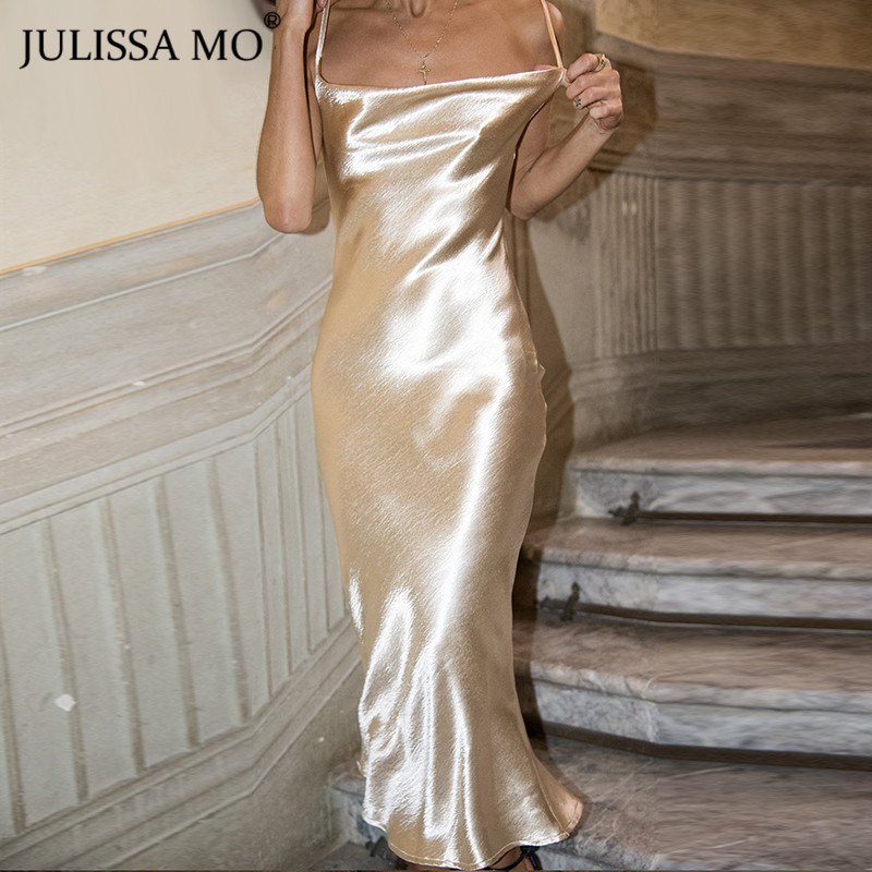 JULISSA MO <font><b>Sexy</b></font> Spaghetti Strap <font><b>Backless</b></font> Summer <font><b>Dress</b></font> Women Satin <font><b>Lace</b></font> Up Trumpet Long <font><b>Dress</b></font> Elegant Bodycon Party <font><b>Dresses</b></font> 2019 image