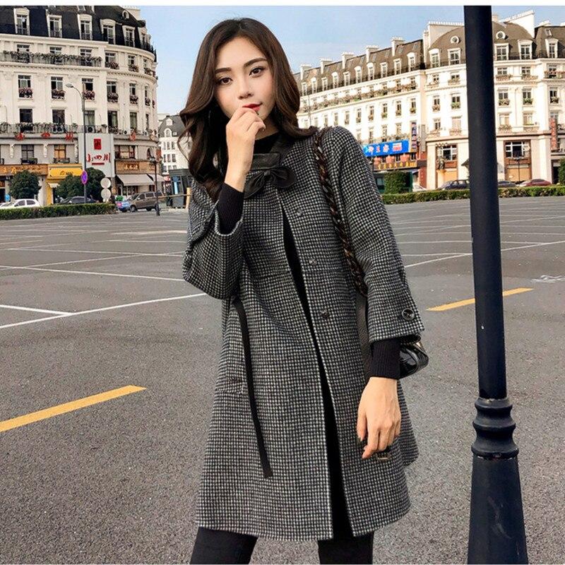 HAMALIEL, осенне-зимнее шерстяное Свободное пальто в клетку, новинка, модное женское твидовое шерстяное пальто с бантом, длинным рукавом и поясом в ломаную клетку