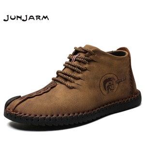 Image 1 - JUNJARM, модные мужские ботинки высококачественные зимние ботильоны из спилка теплая зимняя обувь на меху с плюшевой подкладкой на шнуровке большой размер 38 48