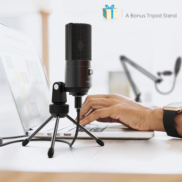 FIFINE Studio Condenser USB Computer Microphone Kit With Adjustable Scissor Arm Stand Shock Mount for YouTube Voice Overs-T669 4