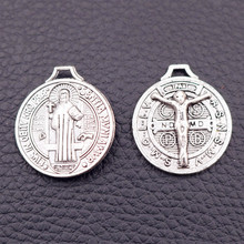 Religious Jesus Tags Metal Pendant, Christian Charms, Devout Christians DIY Handmade Jewelry Silver Tones 8pcs