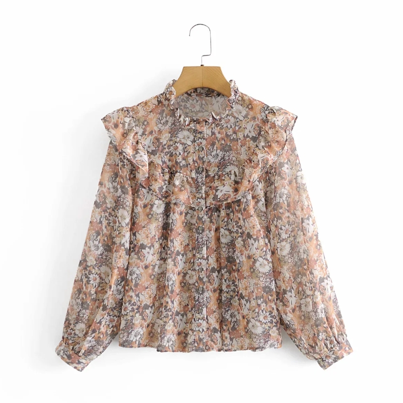 Women Cascading Ruffle Floral Printing Chiffon Shirts Vintage Female Long Sleeve Blouses Casual Lady Loose Tops Blusas S8295 1