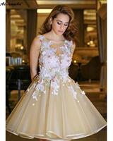 Cute A Line V Neck Organza Open Back Graduation Homecoming Dresses With Applique Lace Short Prom Dress 2019