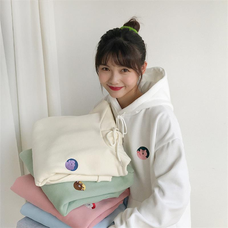 Women's Sweatshirts Japanese Harajuku Ulzzang Casual Cartoon Embroidery Sweatshirt Female Korean Kawaii Cute Clothing For Women