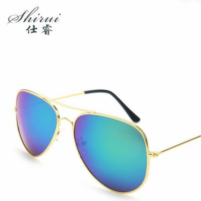Shirui Vintage Brand Designer Metal Sunglasses Women Men Brand Retro Driving Mirror Sun Glasses Female Male