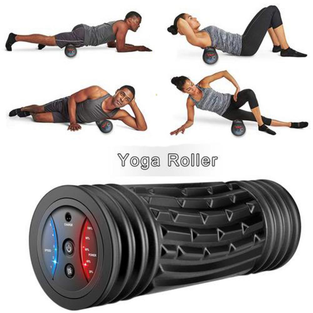 Electric Yoga Fitness Roller Yoga TPE Roller Pilates Block Fitness Body Slimming Massage Stick Rechargeable Vibration Massager 4