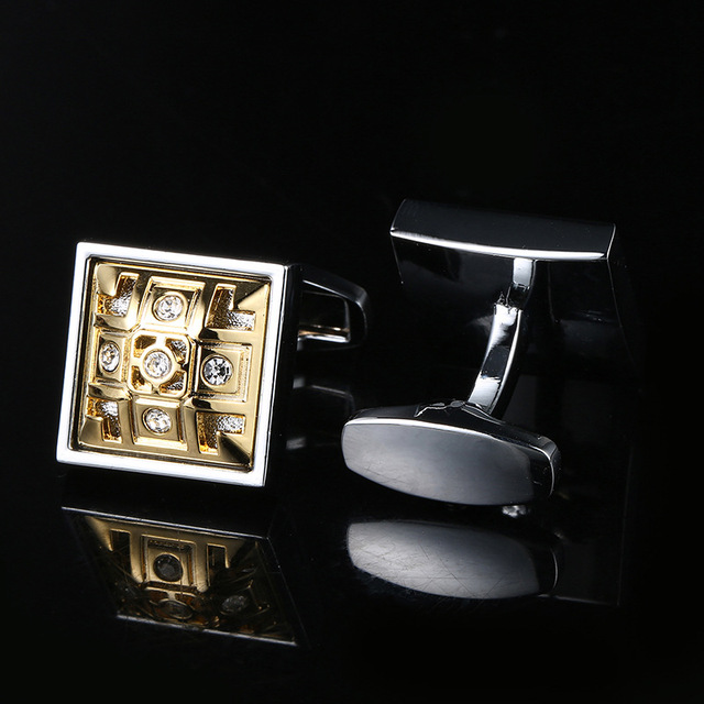 Cufflinks Men's Business Banquet Wedding Daily Leisure Suit Accessories Gifts Gold Square Pattern French Shirt Cuff Links Trendy 1
