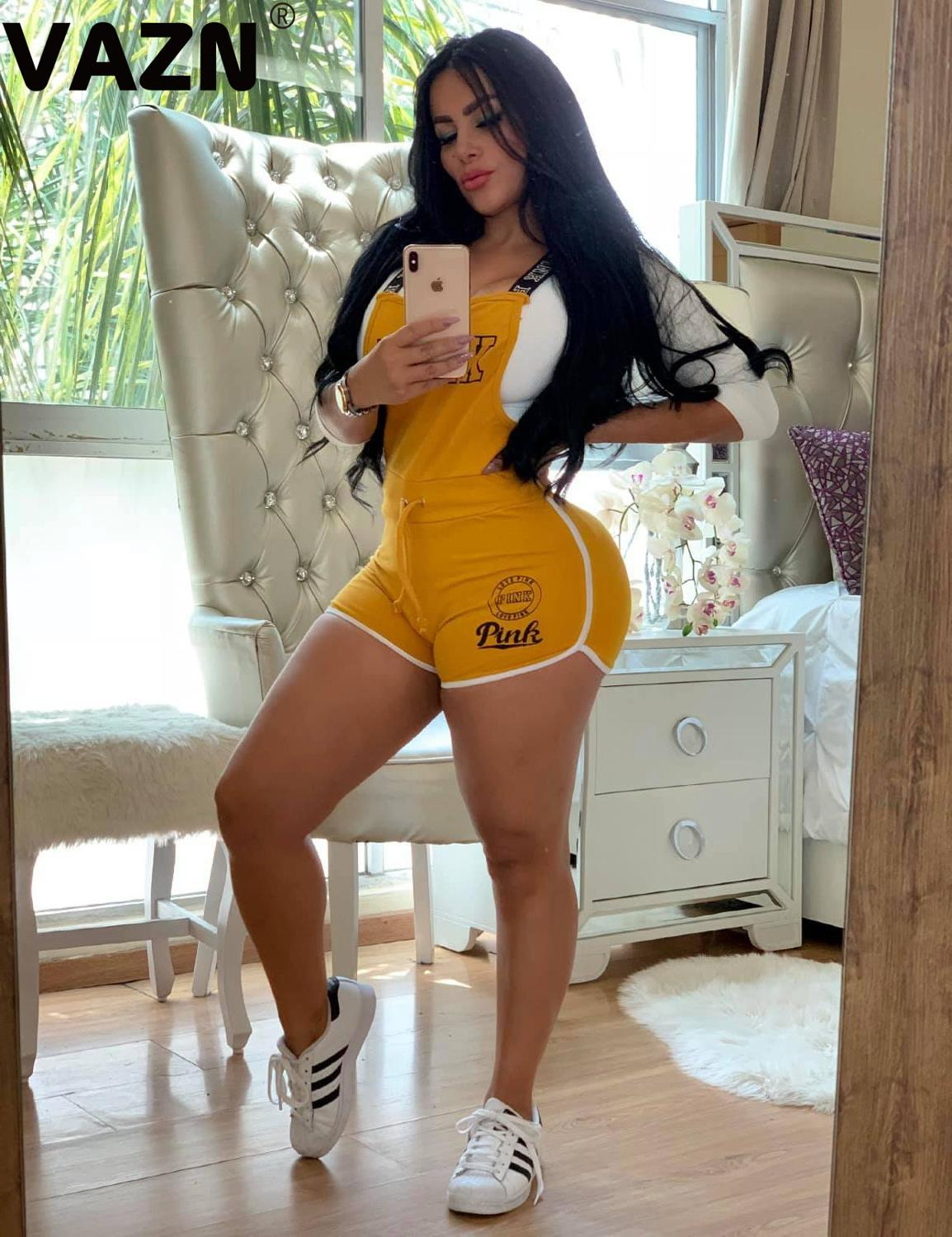 VAZN New Summer 2020 Sexy Women Playsuits Gym Fitness Sleeveless Short Pants Letter Print Rompers