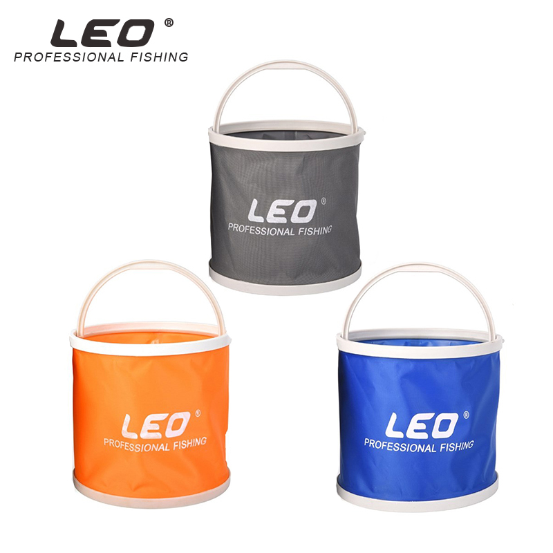 LEO 5L Fishing Canvas Bucket Portable Folding Bag With Storage B Outdoor Car Washing Camping Collapsible Fishing Water Barrel