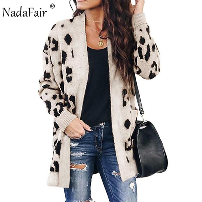 Nadafair Casual Leopard Long Cardigan Women 2019 Autumn Winter Plus Size Long Sleeve Knitted Cardigan Sweater Femme Knitwear