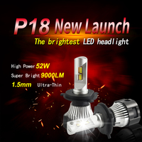 1 Set H7 P18 LED Headlight Super Bright H4 H8 H9 H11 9005 9006 HB3/HB4 9012 HIR2 Cutting Line Focus Beam Turbo Fan 104W 18000LM