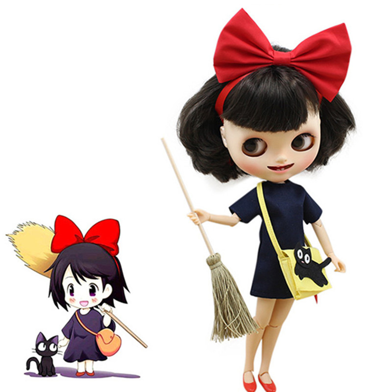 Blyth Doll Accessories Blyth Doll ICY Red Bow Shoes Yellow Bag Dress Broom Set Kiki's Delivery Service Clothes Gift Toy