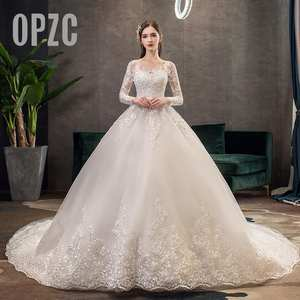 Ball-Gown Wedding-Dress Celebrity Appliques Long-Sleeves Romantic Vestido-De-Noiva Princess