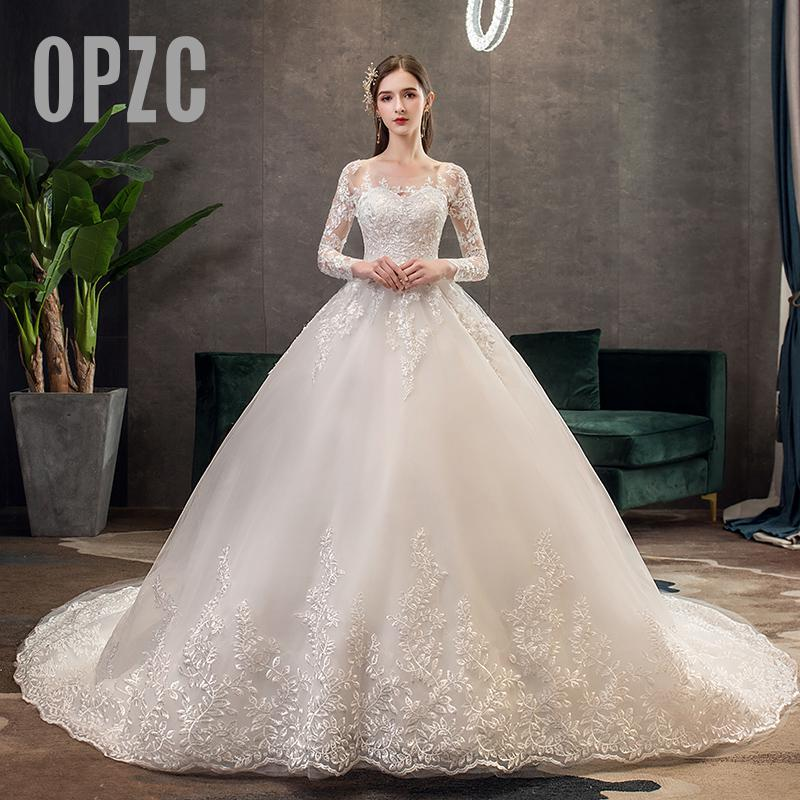 New Romantic Sweet Elegant Princess Luxury Lace Wedding Dress 100 Cm Long Sleeves Appliques Celebrity Ball Gown Vestido De Noiva