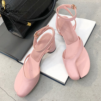 Prowow New Fashion Style Women Summer Gladiator Sandals Black Pink Buckle Strapr Round High Heel Women Sandals Party Shoes Woman