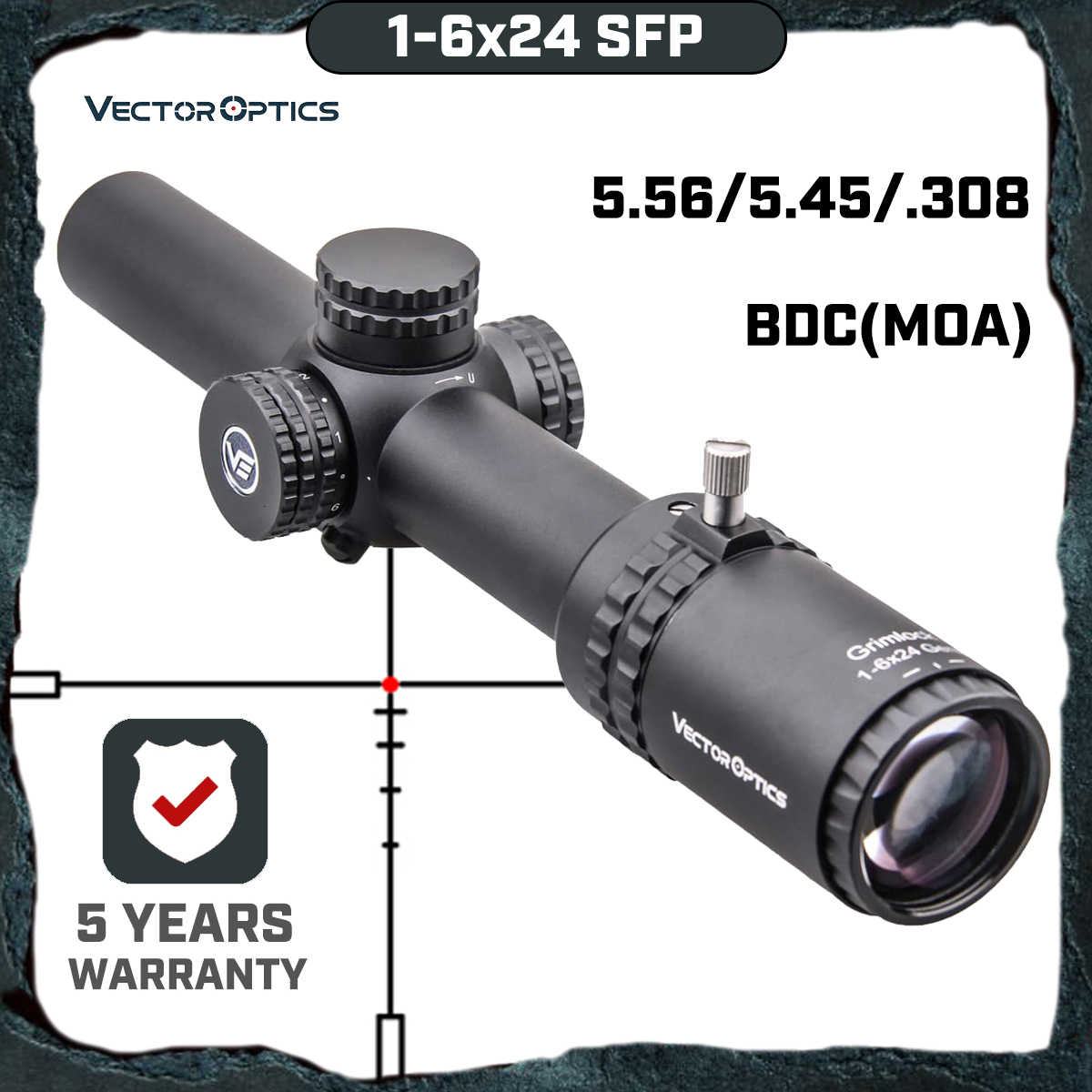 Vector Optics Gen2 Grimlock 1-6x24 BDC (MOA) Ballistic Richtkruis Rifle Scope Center Dot Verlichte CQB Riflescope. 223 AR15. 308