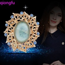 Qiongfu 2020 Big Flower Crystal Brooch For Women Fashion Brooch Pin Bouquet Rhinestone Brooches And Pins Scarf Clip Jewelry blucome shining big green flowers brooches for women vintage crystal brooch corsage women sweater hats scarf suit jewelry pins