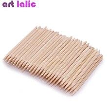 100 шт Nail Art Дизайн Оранжевый деревянные палочки для кутикулы толкатель средство для снятия маникюра, педикюра уход