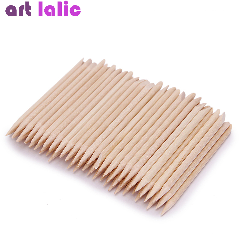 100 Pcs Nail Art Design Orange Wood Stick Sticks Cuticle Pusher Remover Manicure Pedicure Care