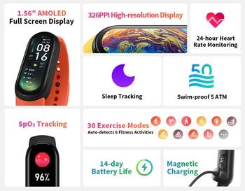 "Original Xiaomi Mi Band 6 Sport Wristband Heart Rate Fitness Tracker Miband 6 1.56 "" AMOLED Screen Smart Band 5 Color Bracelet 2"