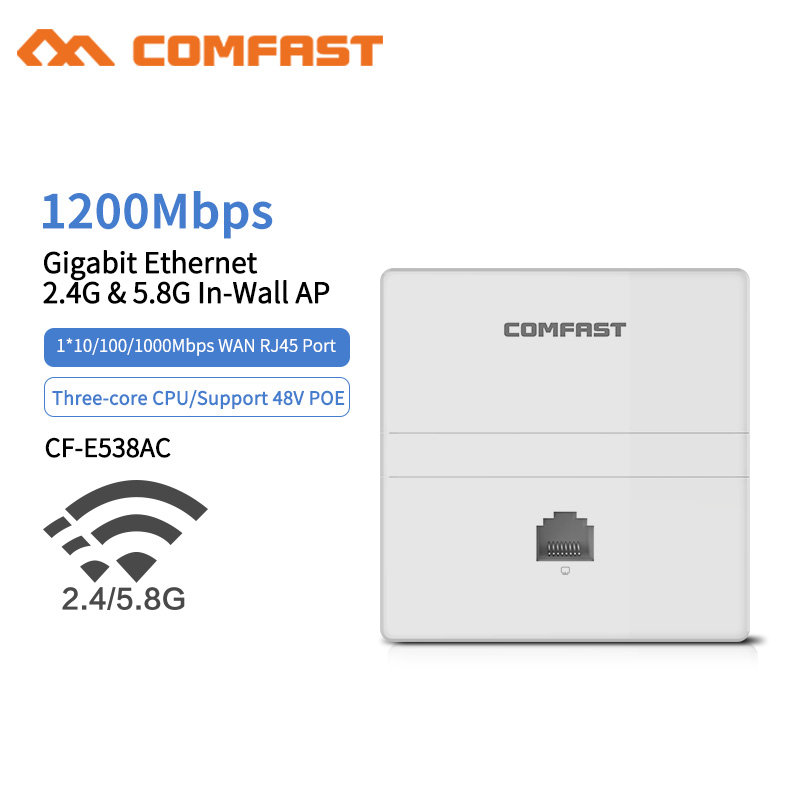 1200Mbps Wireless WIFI Access Point Gigabit 11AC Wifi Router WiFi Repeater 1*10/100/1000Mbps WAN/LAN Port Indoor Wall Client+AP