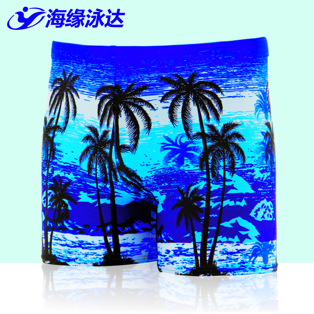 2017 New Style Men Printed Beach Swimming Trunks Seaside Palm Hot Springs AussieBum Large Size Swimwear Men's