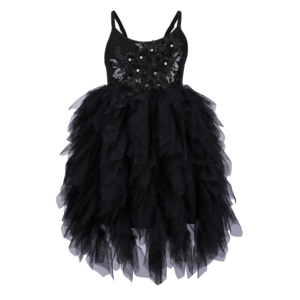 Image 2 - Flofallzique Black Baby Girl Dress Sleeveless Kids Clothes Wedding Party Princess Tutu Sashes Frock For Children 1 8Year