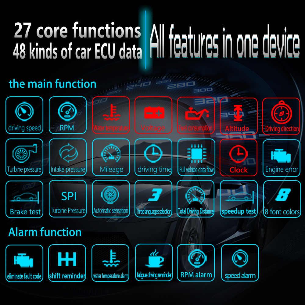 最新 hud ミラー車ヘッドヘッドアップディスプレイスピードプロジェクタートリップコンピュータ obd ii 診断ツール障害のあるコード車のスピードメーター