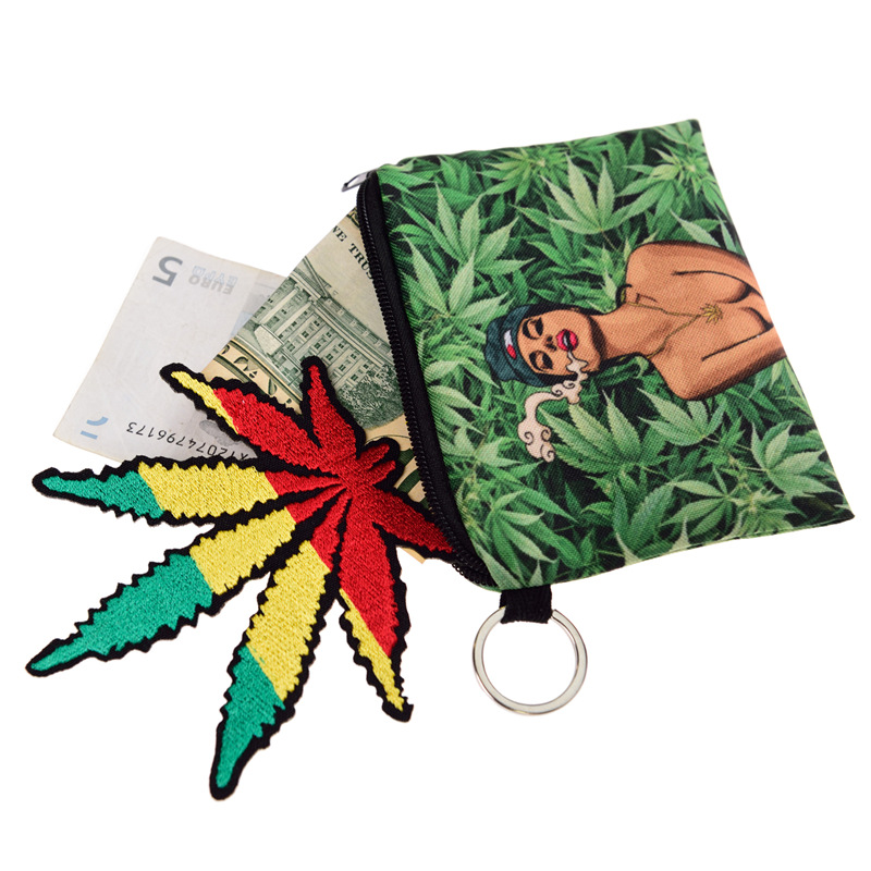 Zohra New Style Marijuana Leaf Pattern Oxford Cloth GIRL'S Square Purse Hot Selling