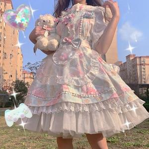 Женское винтажное платье в стиле Лолиты, японский стиль, готическое платье без рукавов с бантом, кружевные вечерние платья принцесс