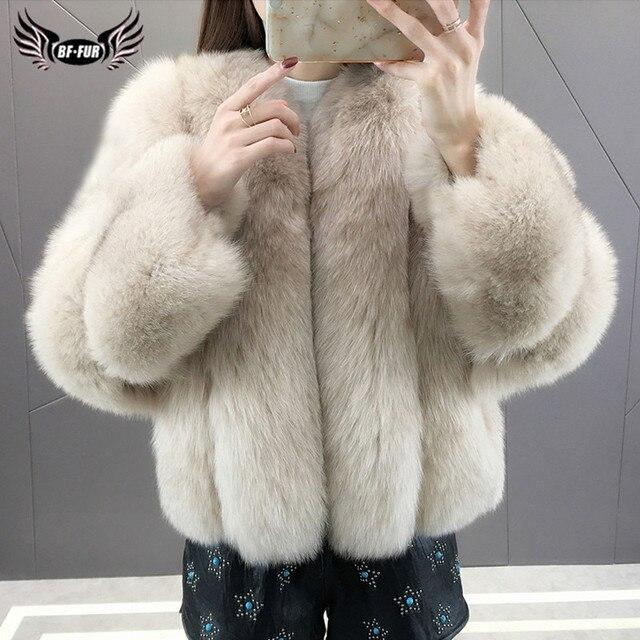 موضة الثعلب معطف الفرو الحقيقي سميكة الدافئة الأزرق الثعلب المرأة معاطف 2020 شتاء كامل الجلد الطبيعي فرو سترات معاطف فاخرة حقيقية