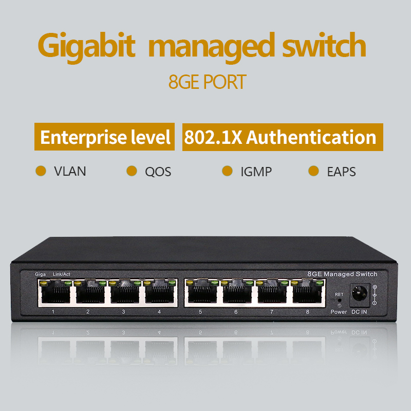 8 Port Gigabit Managed Switch Managed Ethernet Switch With 8 Port 10/100/1000M VLAN
