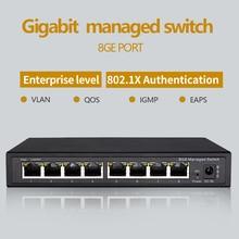 Interruptor ethernet gerido gigabit, 8 portas, 10/100/1000m vlan