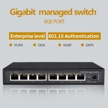 Interruptor gestionado Gigabit de 8 puertos, gestionado con conmutador Ethernet 8 puertos 10/100/1000M VLAN