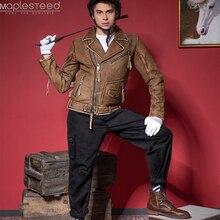 Vintage دراجة نارية سترة سليم صالح سميكة الرجال سترة جلدية 100% جلد البقر موتو السائق سترة رجل معطف جلد شتاء دافئ M455