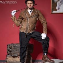 Vintage motosiklet ceket Slim Fit kalın erkek deri ceket % 100% sığır derisi Moto Biker ceket erkek deri ceket kış sıcak M455