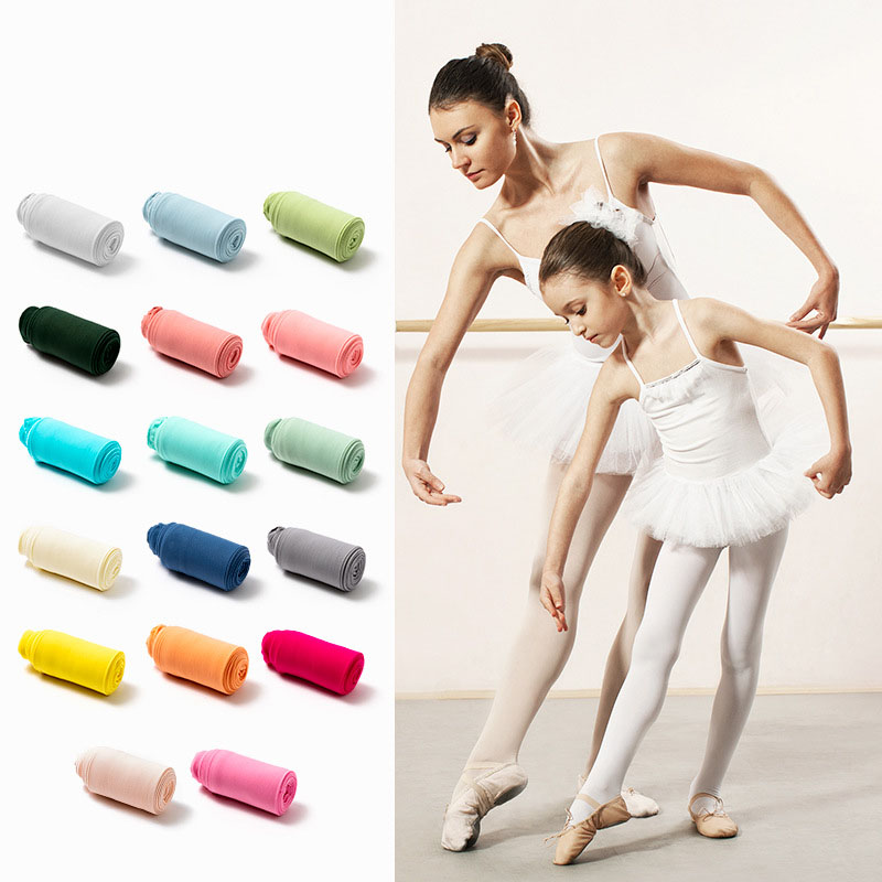 Spring Candy Color Kids Pantyhose Ballet Dance Tights for Girls Stocking Children Velvet Solid White Pantyhose Girls Tights