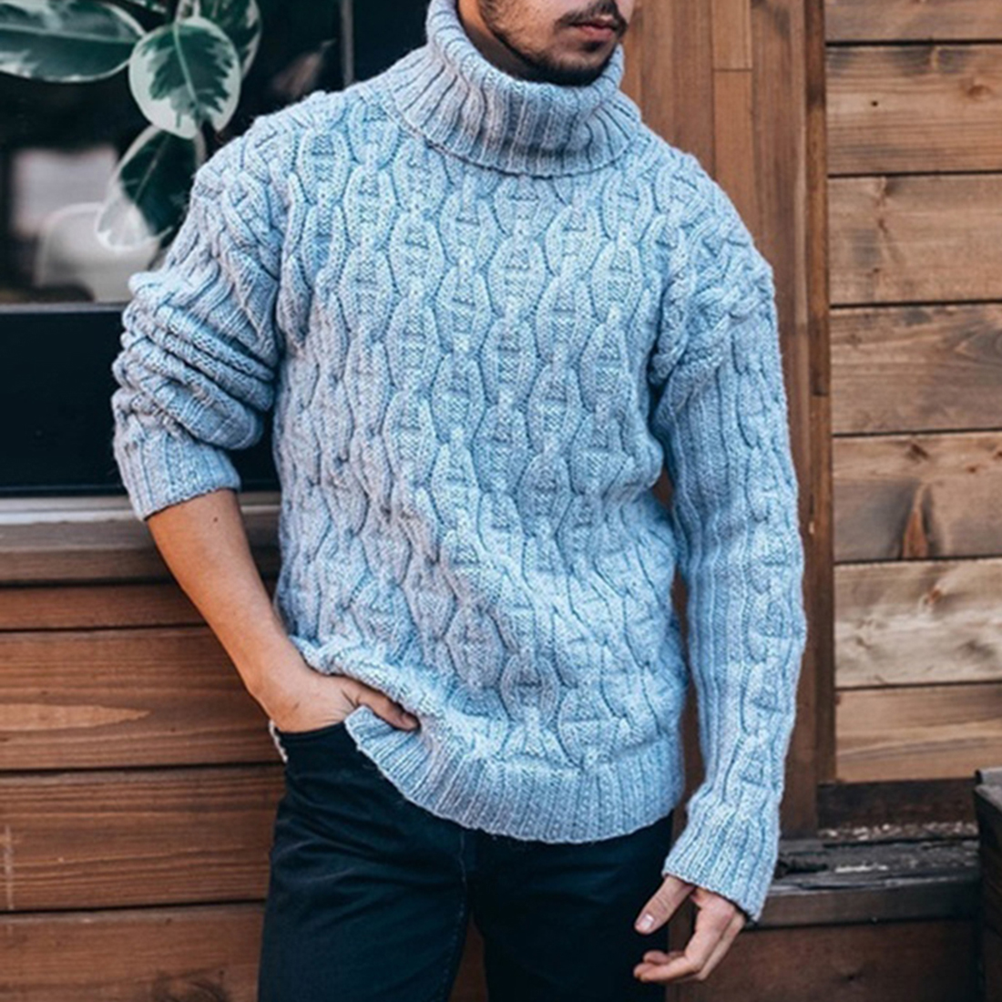 New Knitted Turtleneck Men Sweater Man Solid High Collar Winter Long Sleeve Pullover Men Sweater Coat Mens Turtleneck Sweaters