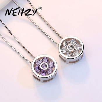 NEHZY 925 Sterling Silver Necklace Pendant Fashion Jewelry New Woman High Quality Purple Crystal Zircon Length 45CM - discount item  40% OFF Fine Jewelry