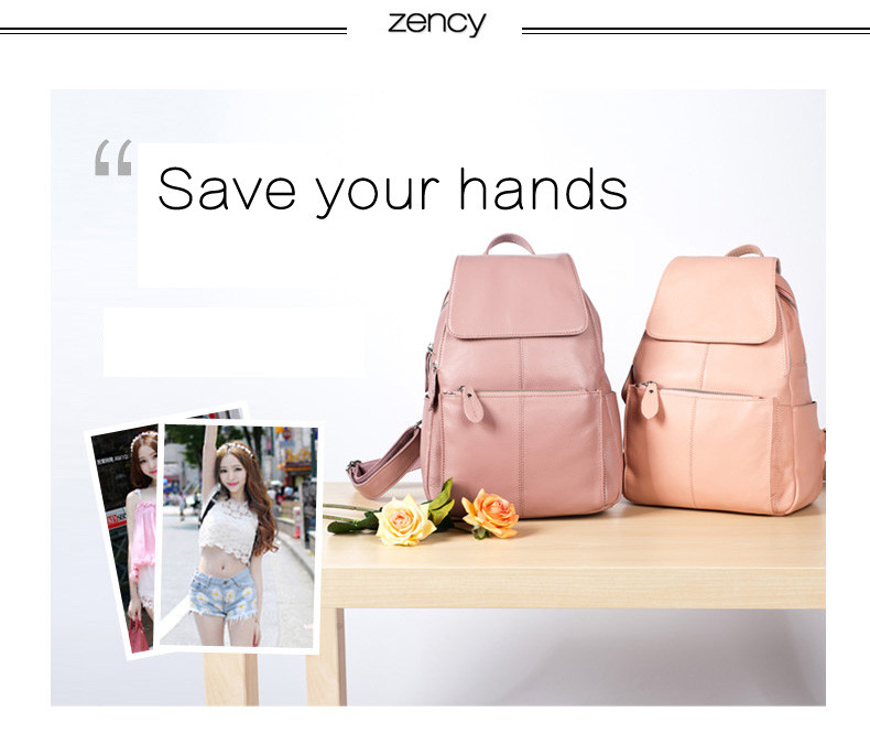 Zency Fashion Soft Genuine Leather Large Women Backpack High Quality A+ Ladies Daily Casual Travel Bag Knapsack Schoolbag Book