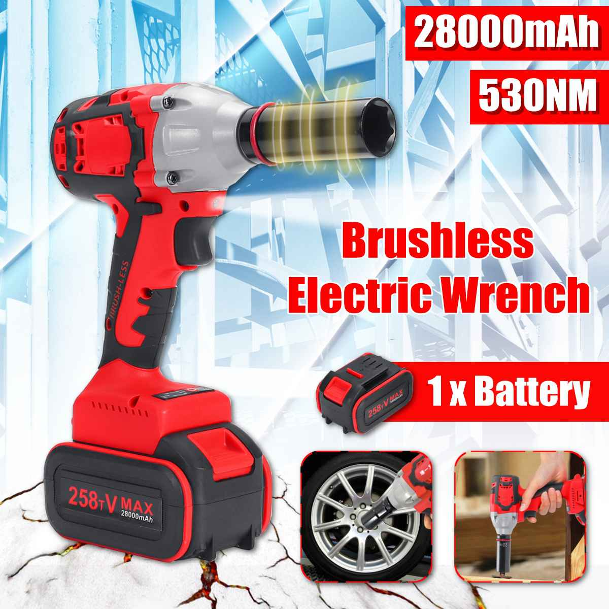 28000mAh 530Nm Cordless Electric Wrench 1/2'' Impact Wrench Power Driver Wrench Socket Tools Set W/1 Rechargeable Battery